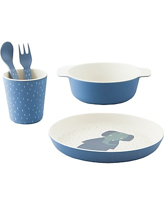 Trixie Tableware Set: Plate, Cup, Bowl, Fork&Spoon, Mrs Elephant - Bamboo Meal Sets