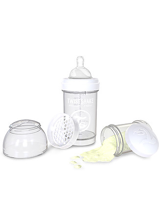 Twistshake Anti-Colic Baby Bottle 180 ml, Bianco Diamond - Includes formula container and mixing net! BPA, BPS and BPF-free! Anti-Colic Baby Bottles