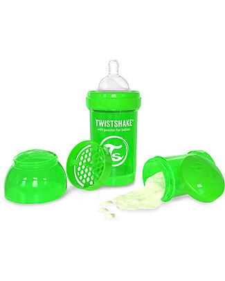 Twistshake Anti-Colic Baby Bottle 180 ml, Green Sugarpuss - Includes formula container and mixing net! BPA, BPS and BPF-free! Anti-Colic Baby Bottles