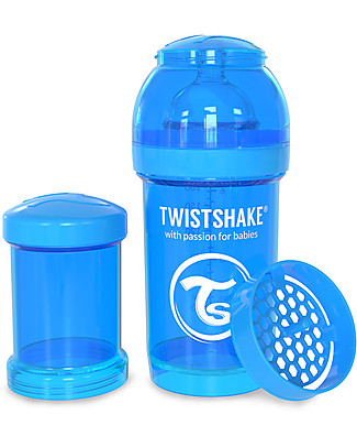 Twistshake Anti-Colic Baby Bottle 180 ml Teat S, Blu Cookiecrumb - Includes formula container and mixing net. BPA, BPS and BPF-free! Anti-Colic Baby Bottles