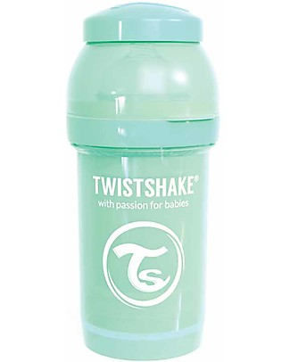 Twistshake Anti-Colic Baby Bottle 180 ml Teat S, Mint - Includes formula container and mixing net. BPA, BPS and BPF-free! Anti-Colic Baby Bottles