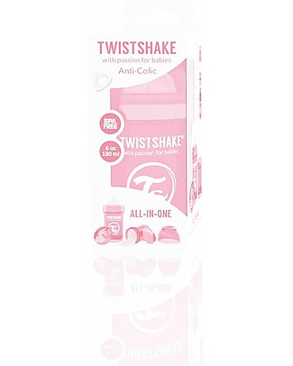 Twistshake Anti-Colic Baby Bottle 180 ml Teat S, Pink - Includes formula container and mixing net. BPA, BPS and BPF-free! Anti-Colic Baby Bottles