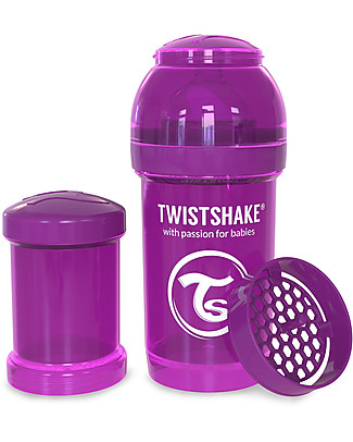 Twistshake Anti-Colic Baby Bottle 180 ml Teat S, Purple Bestie - Includes formula container and mixing net. BPA, BPS and BPF-free! Anti-Colic Baby Bottles