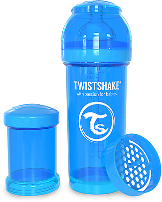 Twistshake Anti-Colic Baby Bottle 260 ml Teat M, Blue Cookiecrumb - Includes formula container and mixing net. BPA, BPS and BPF-free! Anti-Colic Baby Bottles