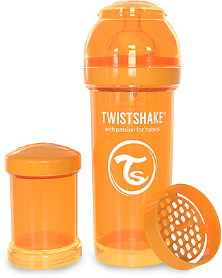 Twistshake Anti-Colic Baby Bottle 260 ml Teat M, Orange Sunbeam - Includes formula container and mixing net. BPA, BPS and BPF-free! Anti-Colic Baby Bottles