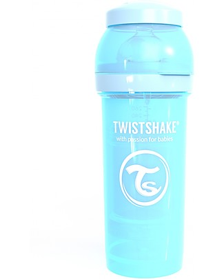 Twistshake Anti-Colic Baby Bottle 260 ml Teat M, Pastel Blue - Includes formula container and mixing net - BPA, BPS and BPF-free! Anti-Colic Baby Bottles