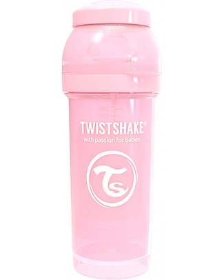 Twistshake Anti-Colic Baby Bottle 260 ml Teat M, Pastel Pink - Includes formula container and mixing net - BPA, BPS and BPF-free! Anti-Colic Baby Bottles