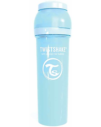Twistshake Anti-Colic Baby Bottle 330 ml Teat L, Light Blue - Includes formula container and mixing net. BPA, BPS and BPF-free! Anti-Colic Baby Bottles
