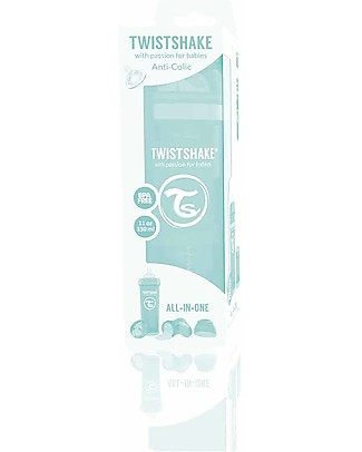 Twistshake Anti-Colic Baby Bottle 330 ml Teat L, Mint - Includes formula container and mixing net. BPA, BPS and BPF-free! Anti-Colic Baby Bottles
