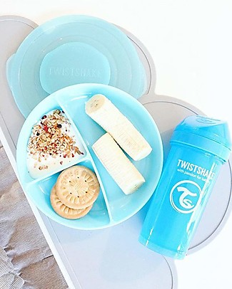 Twistshake Divided Plate and Cover - Pastel Blue - BPA, BPS and BPF-free! Bowls & Plates