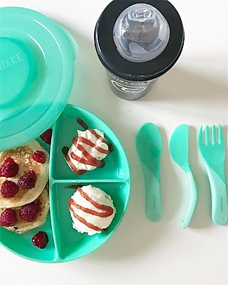 Twistshake Divided Plate and Cover - Pastel Green - BPA, BPS and BPF-free! Bowls & Plates
