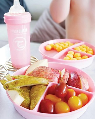 Twistshake Divided Plate and Cover - Pastel Pink - BPA, BPS and BPF-free! Bowls & Plates
