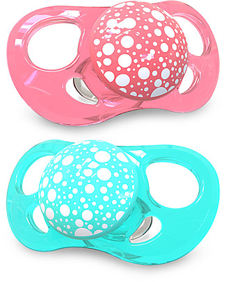 Twistshake Orthodontic Pacifiers (Pack of 2) 6+ months, Peach & Turquoise - Extra-soft silicone, BPA-free! Dummies & Soothers
