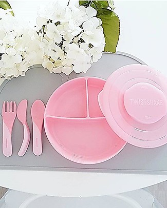 Twistshake Set Learn Cutlery - Pink Pastel - BPA, BPS and BPF-free! Spoons, Cutlery & Chopsticks