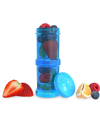 Twistshake Set of 2 Containers for Baby Formula or Snacks 100 ml, Blue Cookiecrumb - Compatible with all Twistshake Baby Bottles, BPA free! Snack and Formula Containers