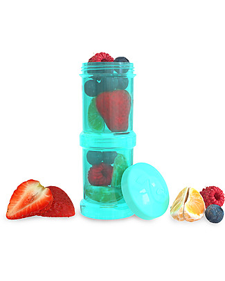 Twistshake Set of 2 Containers for Baby Formula or Snacks 100 ml, Turquoise Sleepyhead - Compatible with all Twistshake Baby Bottles, BPA free! Snack and Formula Containers