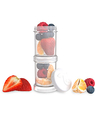 Twistshake Set of 2 Containers for Baby Formula or Snacks 100 ml, White Diamond – Compatible with all Twistshake Baby Bottles, BPA free! Snack and Formula Containers
