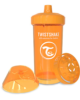 Twistshake Spill-Free Kid Bottle Fruit Splash with Fruit Mixer, 360 ml, Orange Sunbeam - BPA, BPS and BPF-free! BPA-Free Bottles