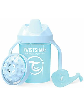 Twistshake Spill Free Mini Sippy Cup Fruit Splash with Fruit Mixer 230 ml, Light Blue - BPA, BPS and BPF-free! Sippy Cups