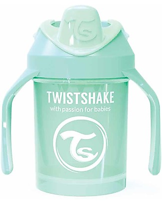 Twistshake Spill Free Mini Sippy Cup Fruit Splash with Fruit Mixer 230 ml, Menta - BPA, BPS and BPF-free! Sippy Cups