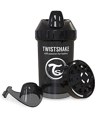 Twistshake Spill Free Sippy Cup Fruit Splash with Fruit Mixer 300 ml, Black Superhero - BPA, BPS and BPF-free! Sippy Cups