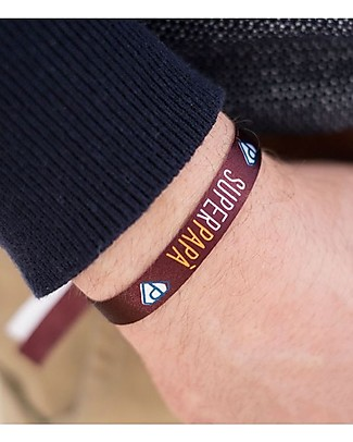 "UO* Bracelet ""Super papà"" - Gift idea, garnet red Bracelets"