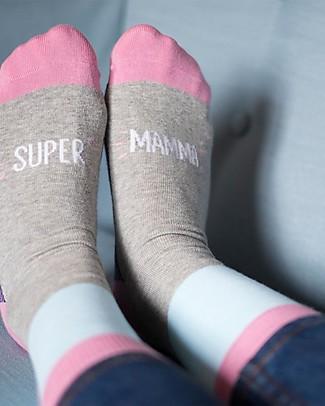 "UO Calzini ""Supermamma"" - Gift idea, pink and grey Socks"