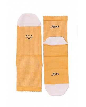 "UO ""Love Mamà"" Socks  - Gift idea, pink and yellow Socks"