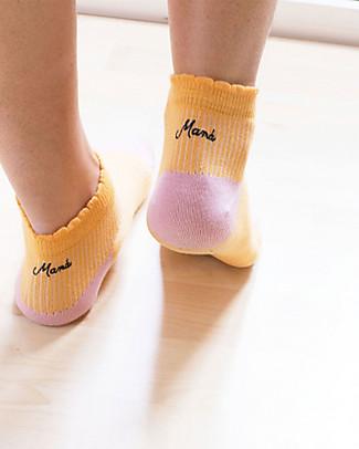 "UO ""Love Mamà"" Socks  - Gift idea, pink and yellow Socks"