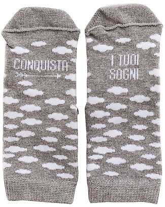 "UO Mini - Calzini ""Conquista i tuoi sogni"" - Clouds - Grey and white Socks"