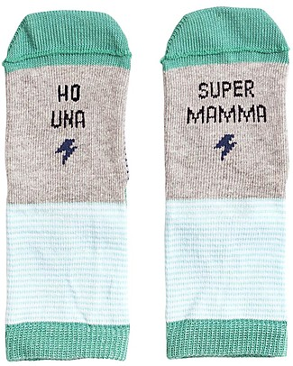"UO Mini - Socks ""Ho una Supermamma"" - Green - Gift idea Socks"