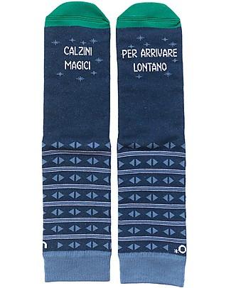 "UO* Socks ""Magici per arrivare lontano""- Gift idea, Blue Socks"