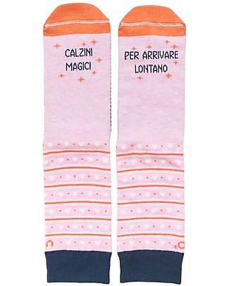 "UO* Socks ""Magici per arrivare lontano""- Gift idea, Pink Socks"