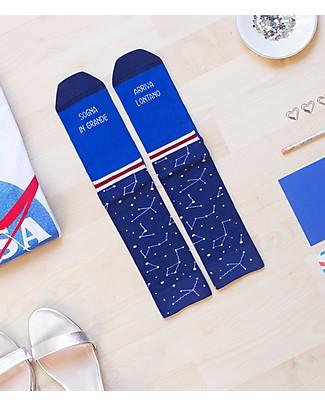 """UO Socks """"Sogna in grande arriva lontano""""- Gift idea, blue Socks"""