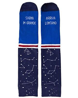 """UO* Socks """"Sogna in grande arriva lontano""""- Gift idea, blue Socks"""