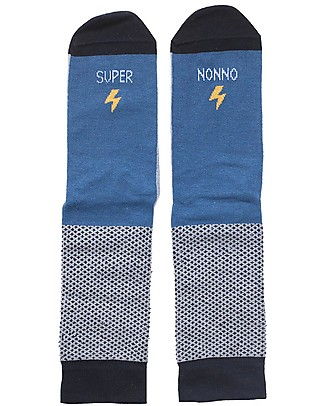 "UO Socks ""Super Nonno"" Gift idea, blue Socks"