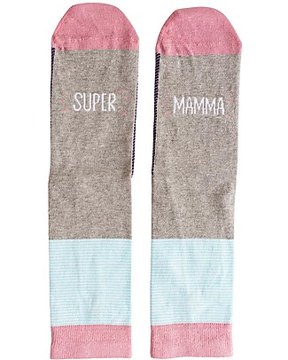 "UO* Socks ""Supermamma"" - Gift idea, pink and grey Socks"
