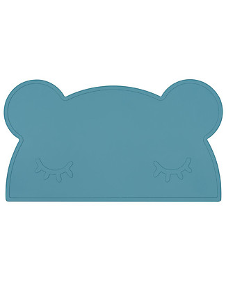 We Might Be Tiny Bear Placie Non-slip Placemat, Blue Dusk - BPA free! Meal Sets