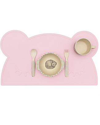 We Might Be Tiny Bear Placie Non-slip Placemat, Pink - BPA free! Meal Sets