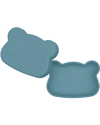 We Might Be Tiny Bear Snackie 2 in 1 Lunch Box and Plate, Blue Dusk - BPA free! Snack and Formula Containers