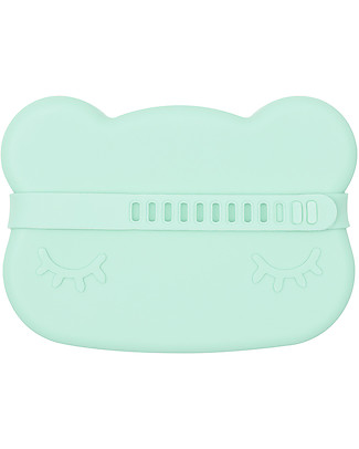 We Might Be Tiny Bear Snackie 2 in 1 Lunch Box and Plate, Mint - BPA free! Snack and Formula Containers