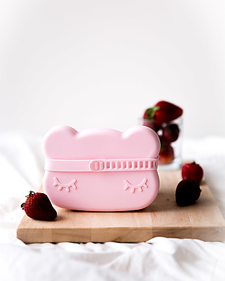 We Might Be Tiny Bear Snackie 2 in 1 Lunch Box and Plate, Powder Pink - BPA free! Snack and Formula Containers