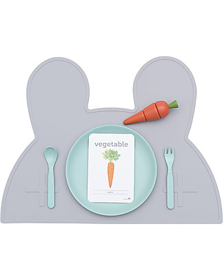 We Might Be Tiny Bunny Placie Non-slip Placemat, Grey - BPA free! Meal Sets
