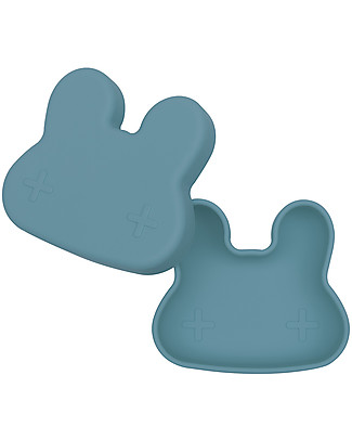 We Might Be Tiny Bunny Snackie 2 in 1 Lunch Box and Plate, Blue Dusk - BPA free! Snack and Formula Containers