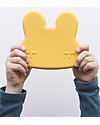 We Might Be Tiny Bunny Snackie 2 in 1 Lunch Box and Plate, Yellow - BPA free! Snack and Formula Containers