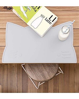 We Might Be Tiny Cat Placie Non-slip Placemat, Grey - BPA free! Meal Sets