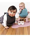 We Might Be Tiny Set of 2 Silicone Catchie Bibs, Blue Dusk/Charcoal - BPA free! Waterproof Bibs