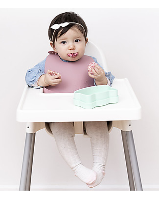 We Might Be Tiny Set of 2 Silicone Catchie Bibs, Dusty Rose/Powder Pink - BPA free! Waterproof Bibs