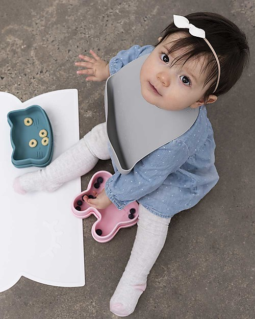 We Might Be Tiny Set of 2 Silicone Catchie Bibs, Mint/Grey - BPA free! Waterproof Bibs