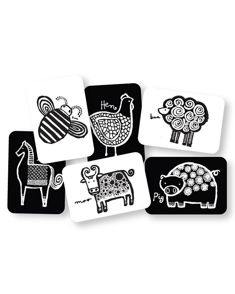 Wee Gallery Art Cards - Farm Animals (black and white so
